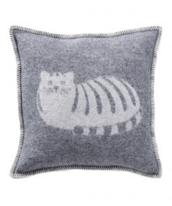 Grey Cat Cushion Cover Front - JJ Textile