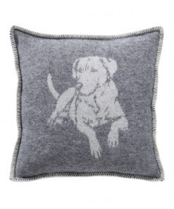 Grey Dog Cushion Cover Front - JJ Textile