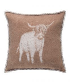 Brown Highland Cow Cushion Cover Front - JJ Textile