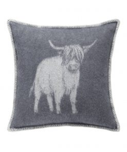 Grey Highland Cow Cushion Cover Front - JJ Textile