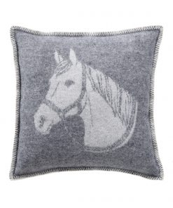 Grey Horse Head Cushion Cover Front - JJ Textile