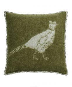 Green Pheasant Cushion Cover Front - JJ Textile