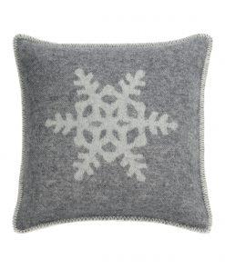 Grey Snowflake Cushion Cover Front - JJ Textile