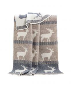 Grey And Brown Deer Blanket - JJ Textile