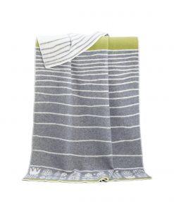 Grey Flower Stripe Blanket - JJ Textile
