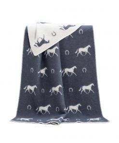 Dark Grey Horse Shoe Blanket - JJ Textile