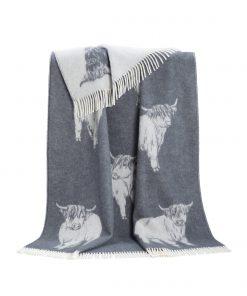 Grey Highland Cow Throw - JJ Textile