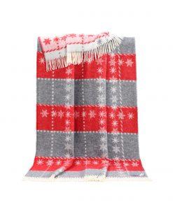 Red Snowflake Throw - JJ Textile