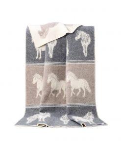 Grey And Brown Ponies Blanket - JJ Textile