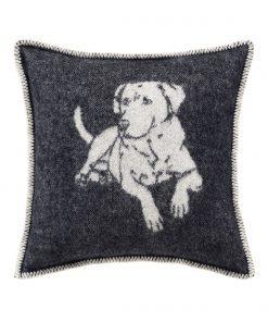 Black Dog Cushion Front - JJ Textile