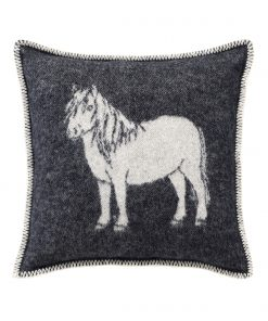 Black Pony Cushion Cover Front - JJ Textile