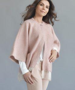 Pink Herringbone Cape With Press Stud - JJ Textile