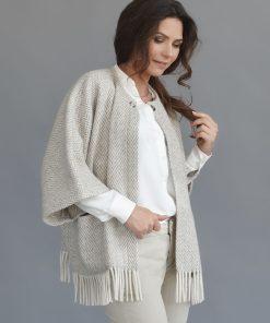 Grey Herringbone Cape - JJ Textile