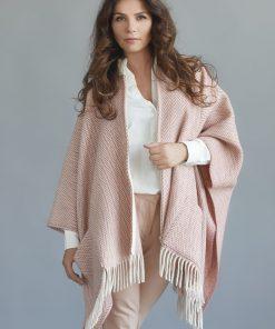 Pink Herringbone Cape - JJ Textile