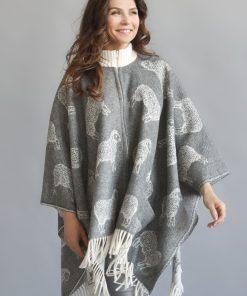 Grey Sheep Wool Cape - JJ Textile