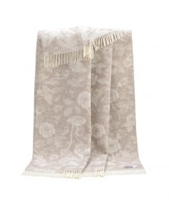 Soft brown Flower Wool Throw - JJ Textile