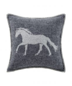 Soft Black Horse Cushion Cover Front - JJ Textile